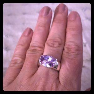 Sparkly lilac Swarovski sterling silver ring